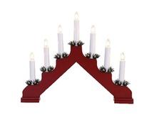 Elektrisks svečturis, koka, 7 spuldzes, 40x31cm , sarkans