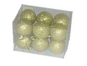 Eglīšu bumbas, plastmasas ar spīguļiem, zeltītas, D5cm, 12gab./iepak.