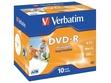 Kompaktdisks Verbatim, DVD-R, 4.7GB, 16x, ar apdrukājamo virsmu plastmasas vāciņā, 10 gab. iepak.